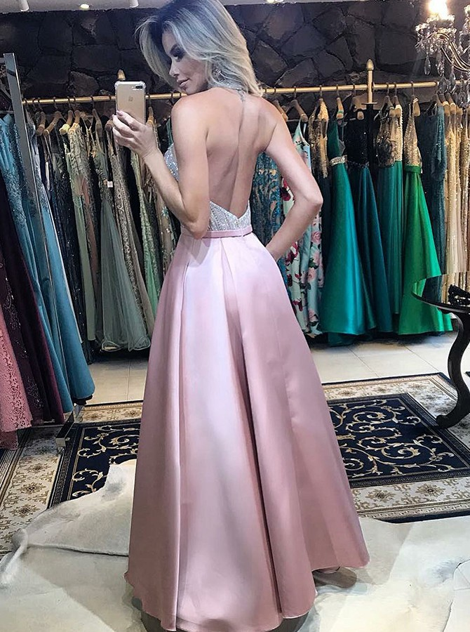A-Line Halter Floor Length Prom Dress with Pockets Sequins