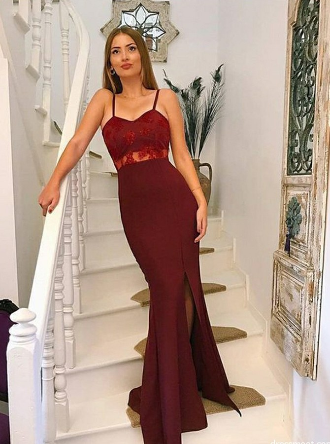 Mermaid Spaghetti Straps Long Split Appliques Prom Dress