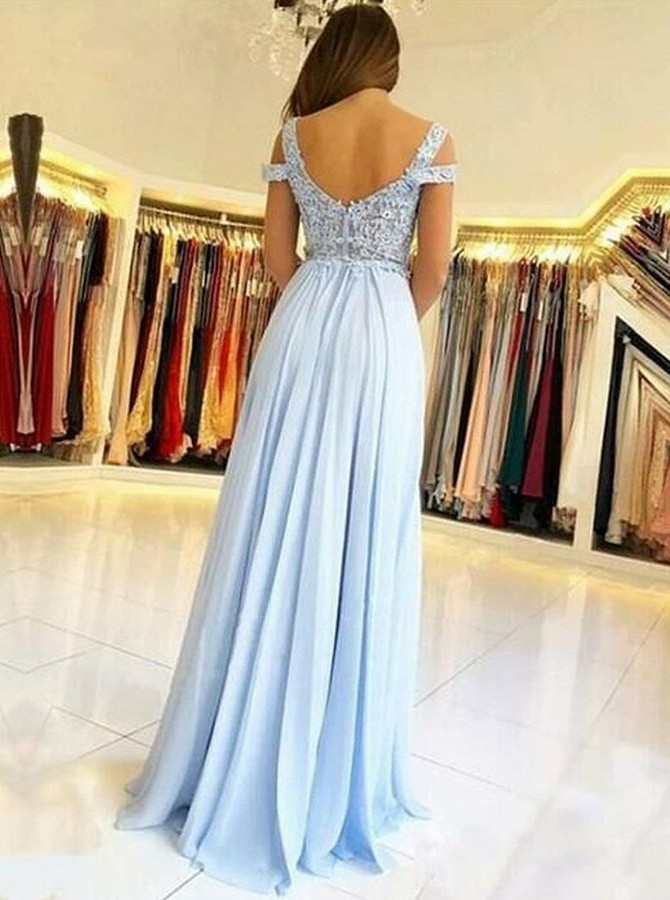 A-Line Cold Shoulder Floor-Length Prom Dress with Appliques Split