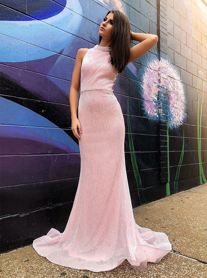 Mermaid Round Neck Sweep Train Pink Prom/Evening Dress with Sequins
