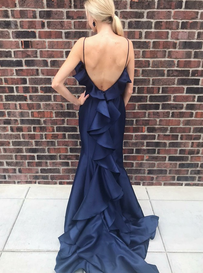 Mermaid Spaghetti Straps long Backless Prom Dress with Ruffles
