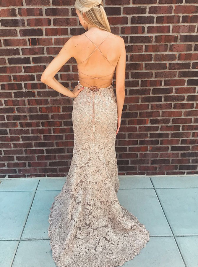 Mermaid Spaghetti Straps Champagne Lace Long Prom/Evening Dress