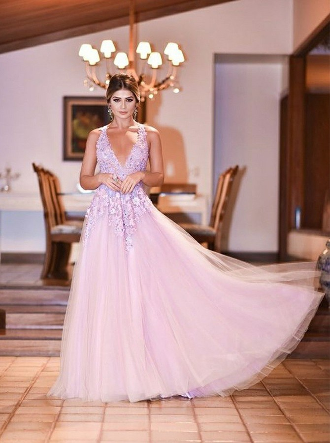 A-Line V-Neck Floor-Length Pink Prom/Evening Dress with Appliques