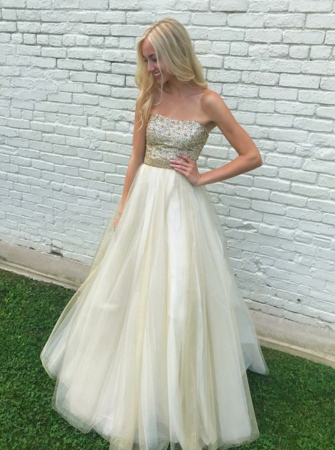 A-Line Strapless Floor-Length Organza Prom/Evening Dress with Beading