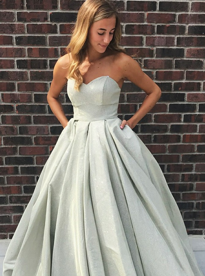 A-Line Sweetheart Sweep Train Grey Prom Dress with Pockets