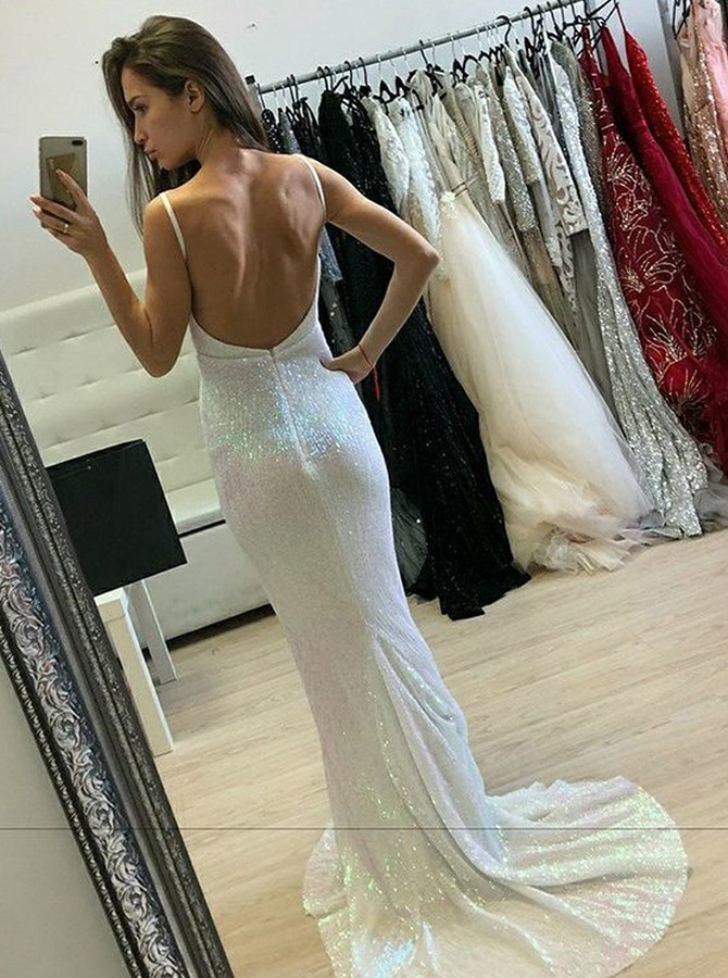 Mermaid Spaghetti Straps Sweep Train Backless Tulle Prom/Evening Dress