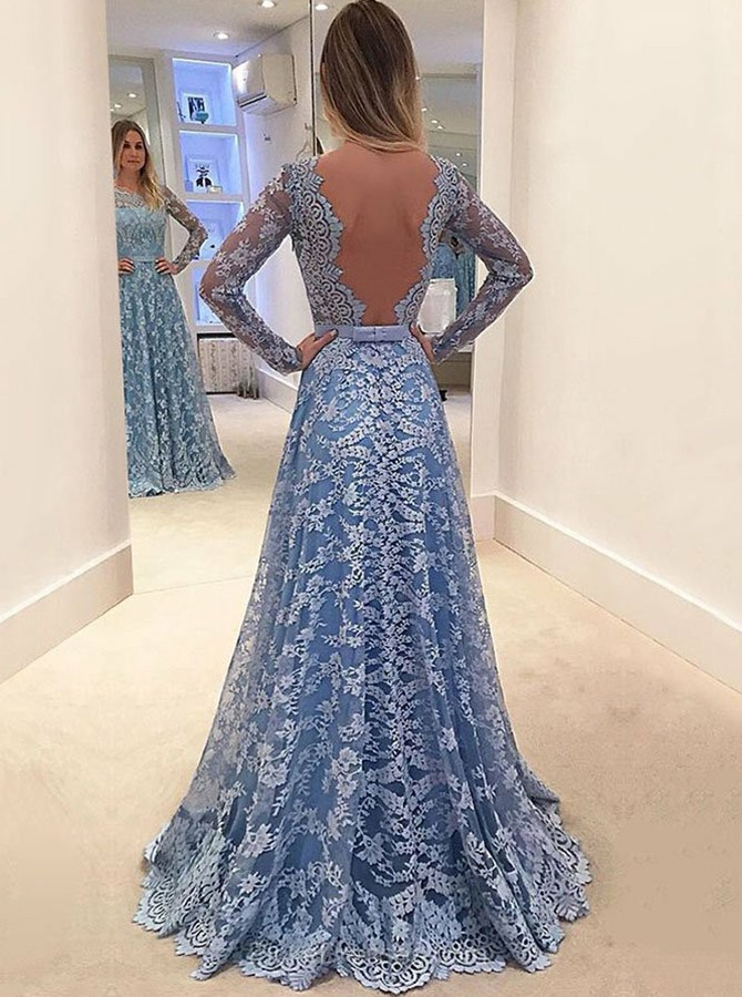 A-Line Round Neck Long Sleeves Lace Backless Prom Dress