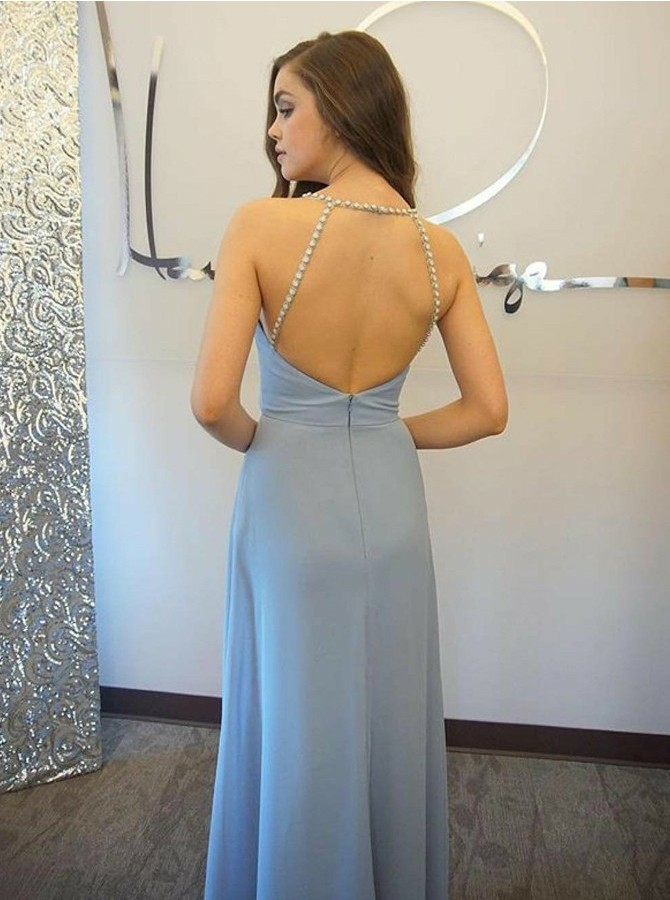 A-Line Spaghetti Straps Long Backless Prom/Bridesmaid Dress