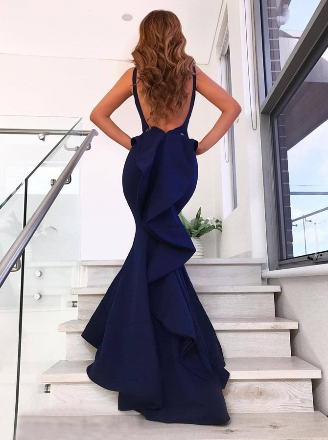 Mermaid V-Neck Long Prom Dress Navy Blue Ruffles Evening Dress