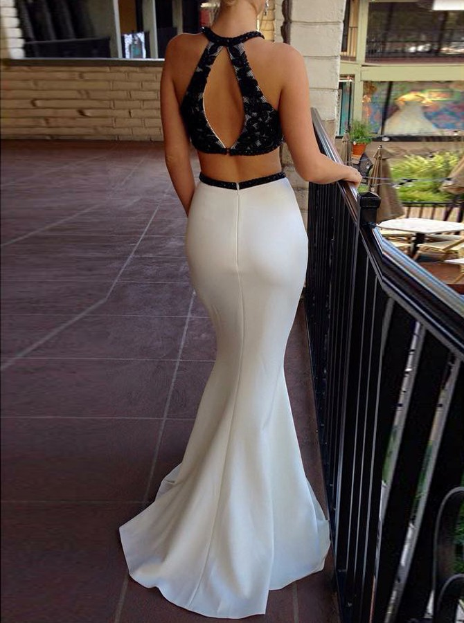 Two Piece Round Neck Floor-Length Appliques Prom/Evening Dress