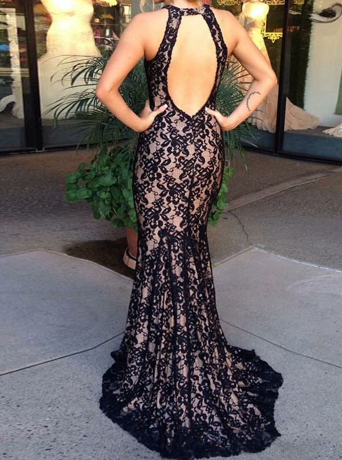 Mermaid Round Neck Long Backless Lace Prom Dress with Keyhole