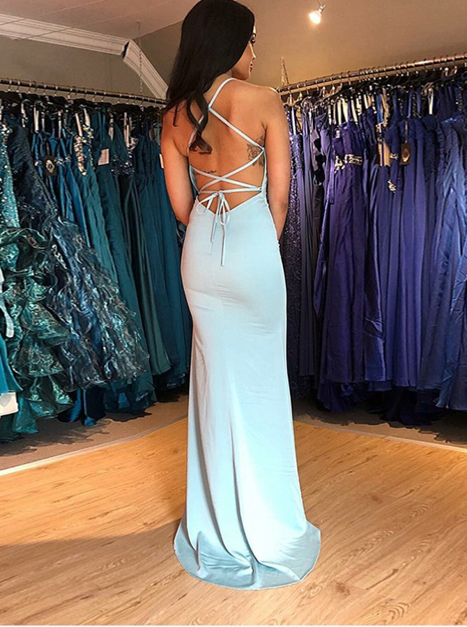 Mermaid V-neck Lace-Up Sweep Train Light Blue Prom Dress with Split