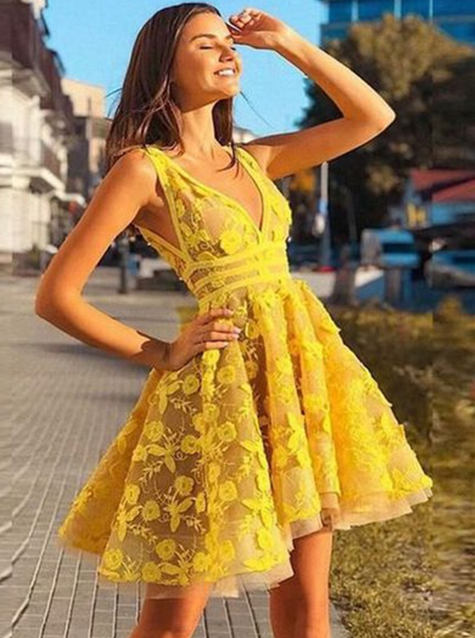 A-line V-neck Backless Short Prom Dress Yellow Homecoming Dress