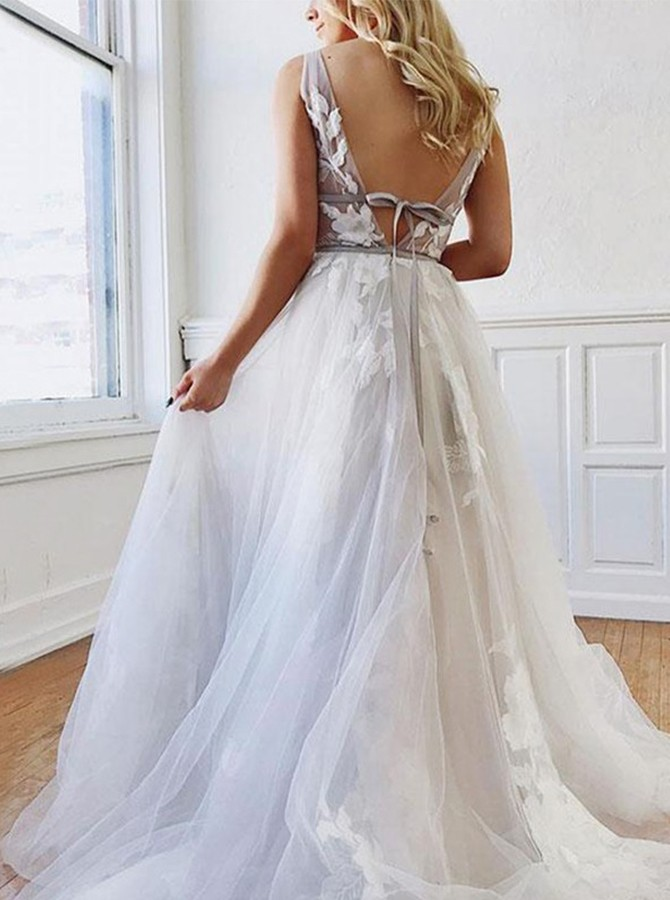 A Line Deep V-Neck Backless White Beach Wedding Dress With Appliques