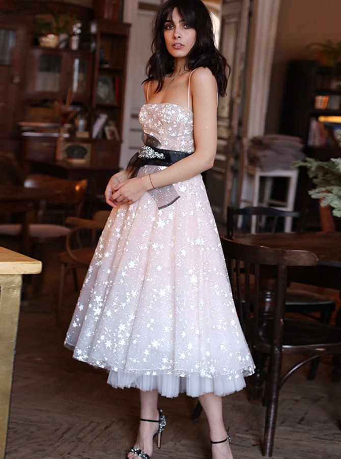 A-Line Spaghetti Straps Pink Homecoming Dress Tea-length Prom Dress