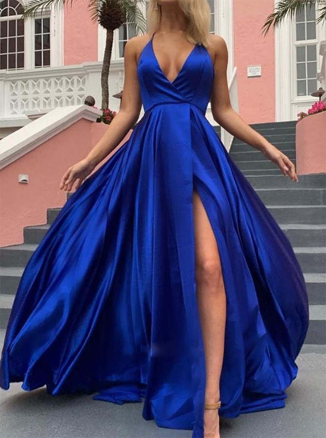 A-Line Royal Blue Halter V-Neck Prom Dress with a Leg Slit