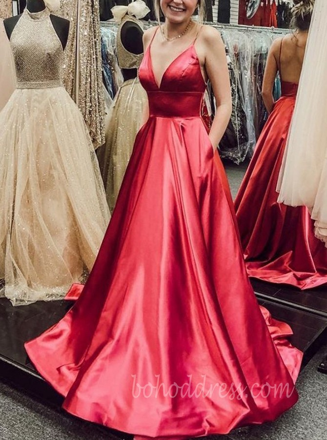 V-neck Spaghetti Straps Red Satin Long Prom Dress with Pockets