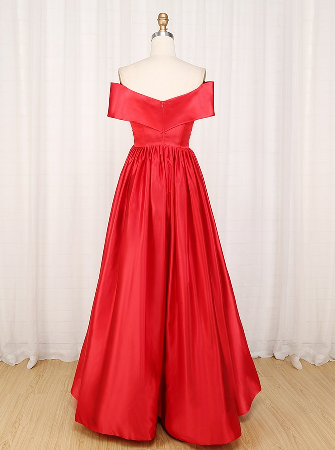 A-line Off the Shoulder Floor Length Satin Prom Dress with Split