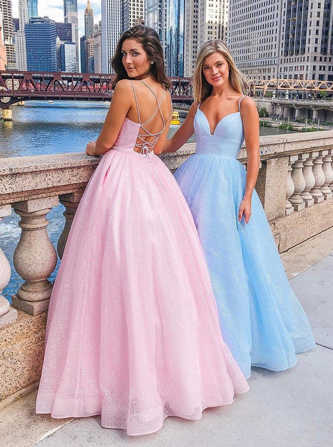 Gorgeous Spaghetti Straps Pink Criss-Cross Back Prom Evening Dress