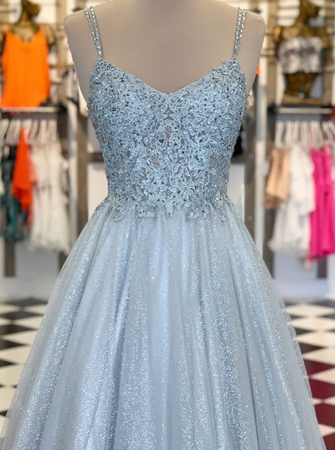 Fancy Spaghetti Straps Grey Floor-Length Prom Evening Dress with Appliques