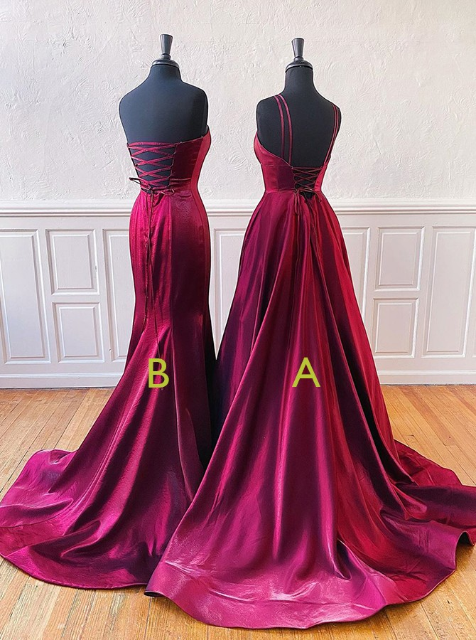 Mermaid Strapless Burgundy Split Prom Evening Dress with Sweep Train