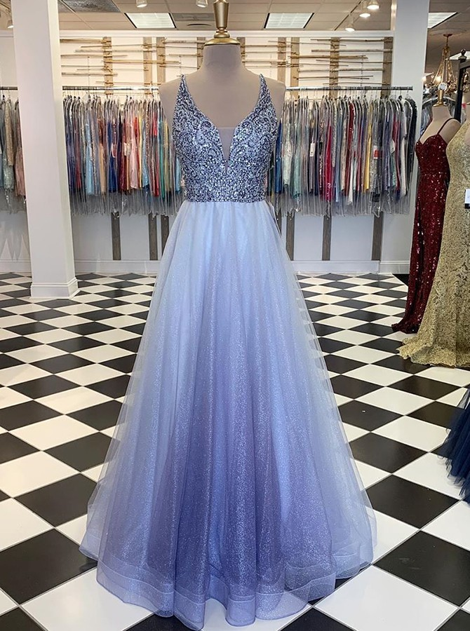 A-line V-neck Sleeveless Ombre Beading Tulle Prom Dress