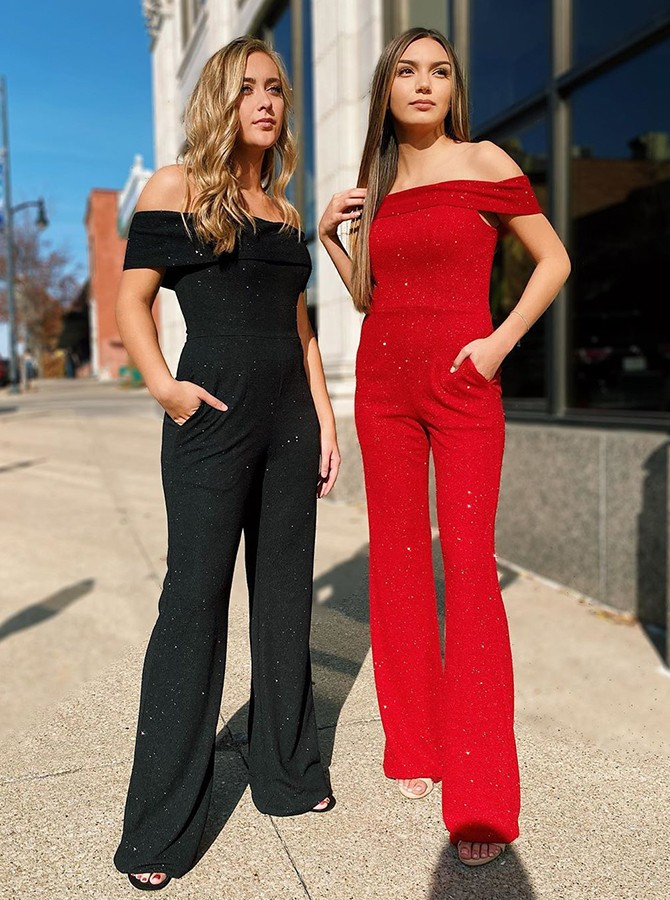 Modest Off Shoulder Red Formal Prom Jumpsuit with Pockets