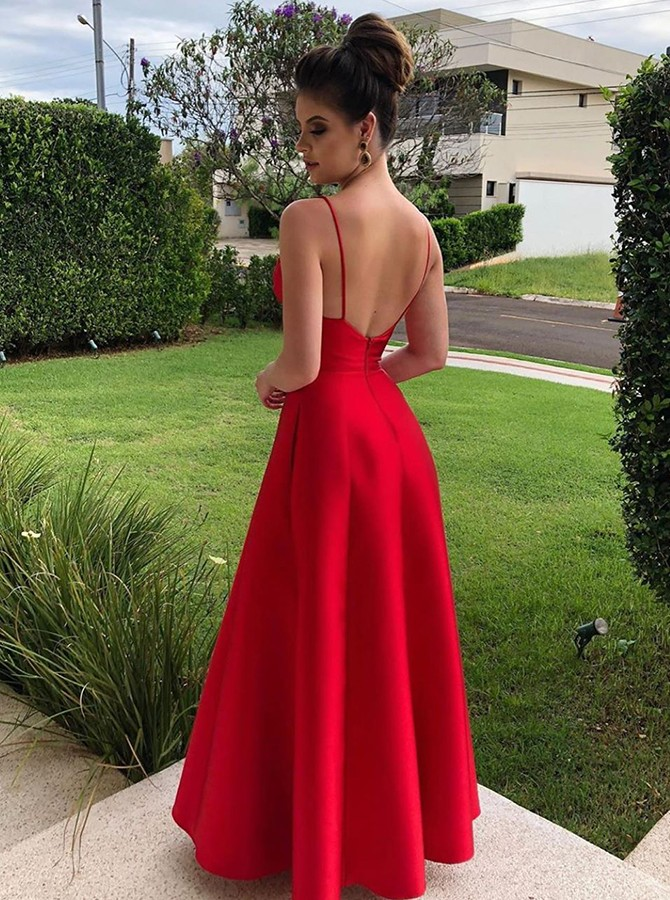 Modest Red V-neck Sleeveless Floor-Length Prom Evening Dress