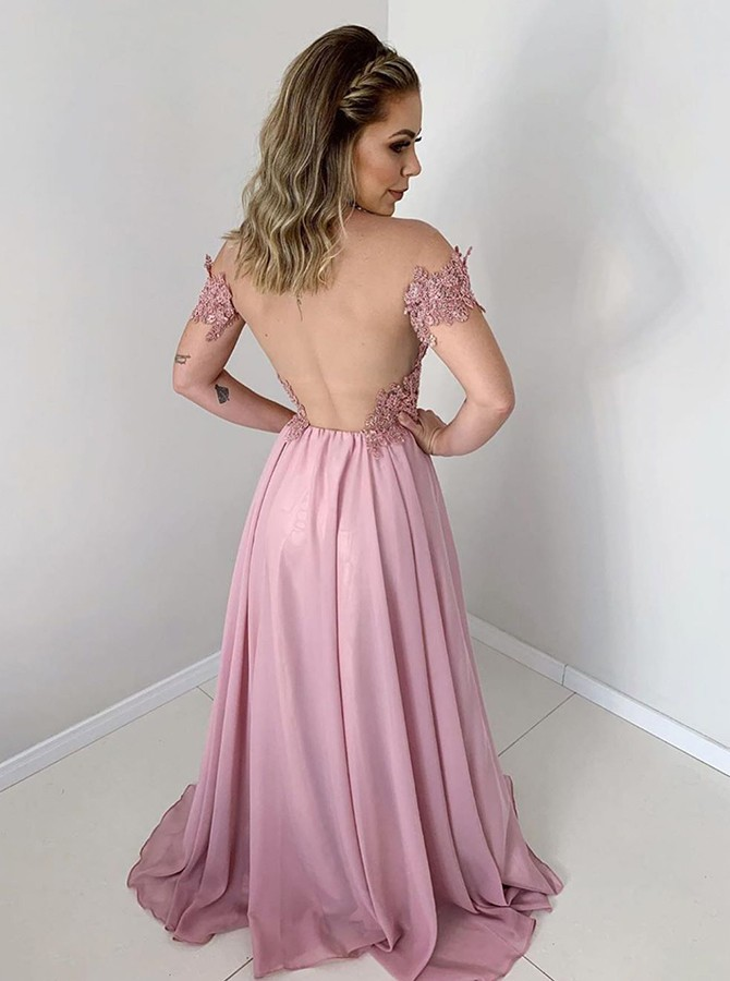 A-line Off Shoulder Blush Illusion Back Prom Dress with Appliques