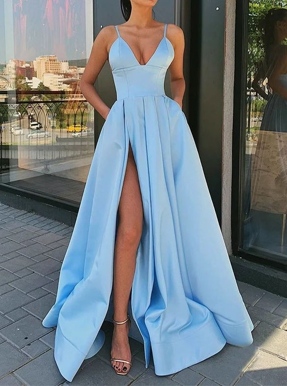 Elegant Spaghetti Straps Blue Prom Dress with Split Pockets
