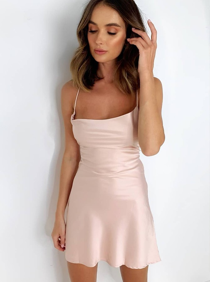 Tight Spaghetti Straps Blush Semi Formal Homecoming Party Dress