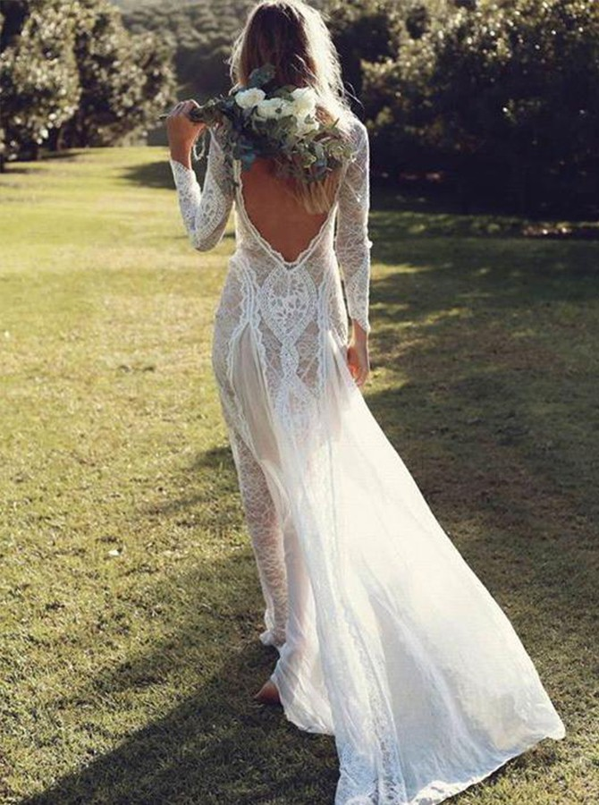 A-Line Bateau Long Sleeves Backless Chiffon Wedding Dress with Lace