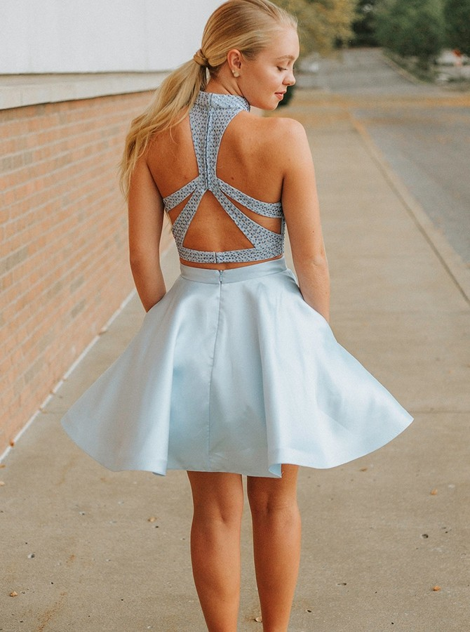 Two Piece Jewel Open Back Pockets Satin Short Blue Homecoming Dress