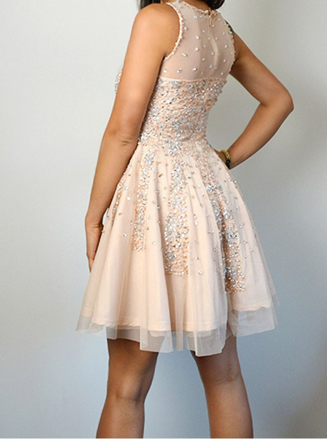 A-Line Jewel Beading Sleeveless Light Champagne Homecoming Dress