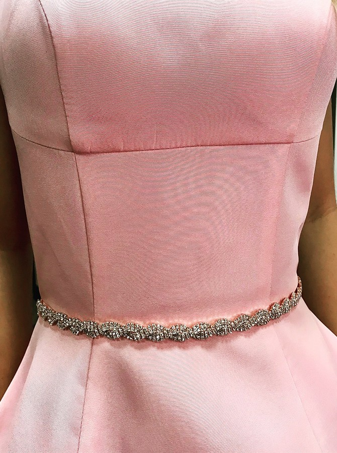 A-Line Round Neck Statin Beading Pockets Short Pink Prom/Homecoming Dress