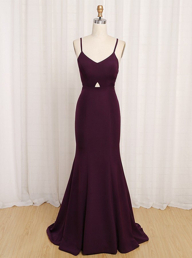 Mermaid V-Neck Criss-Cross Straps Sweep Train Purple Prom Dress