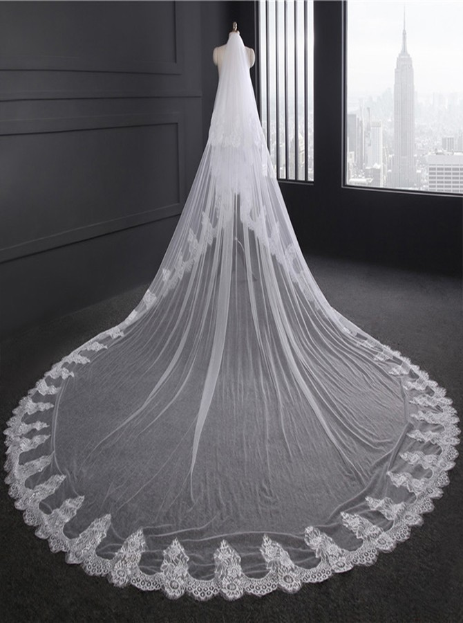Two Tier Cathedral Bridal Veils with Lace
