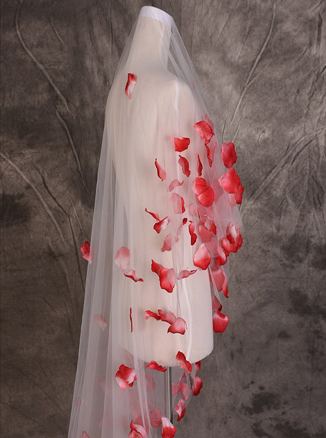 One Tier Red Appliques Cathedral Bridal Veils
