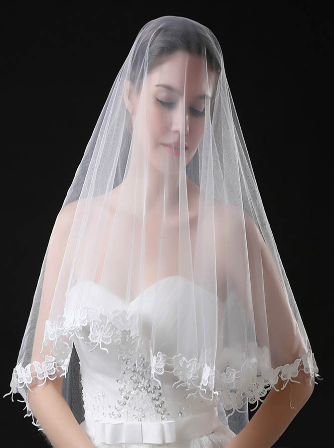 Blusher Mantilla Bridal Veil with Lace