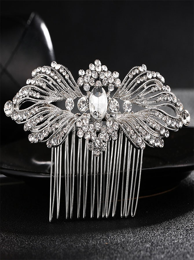 Silver Beaded Crystal Combs