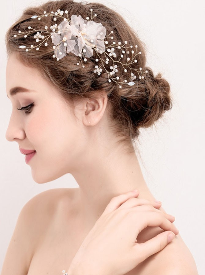 Gold Pearl Flower Hairpin
