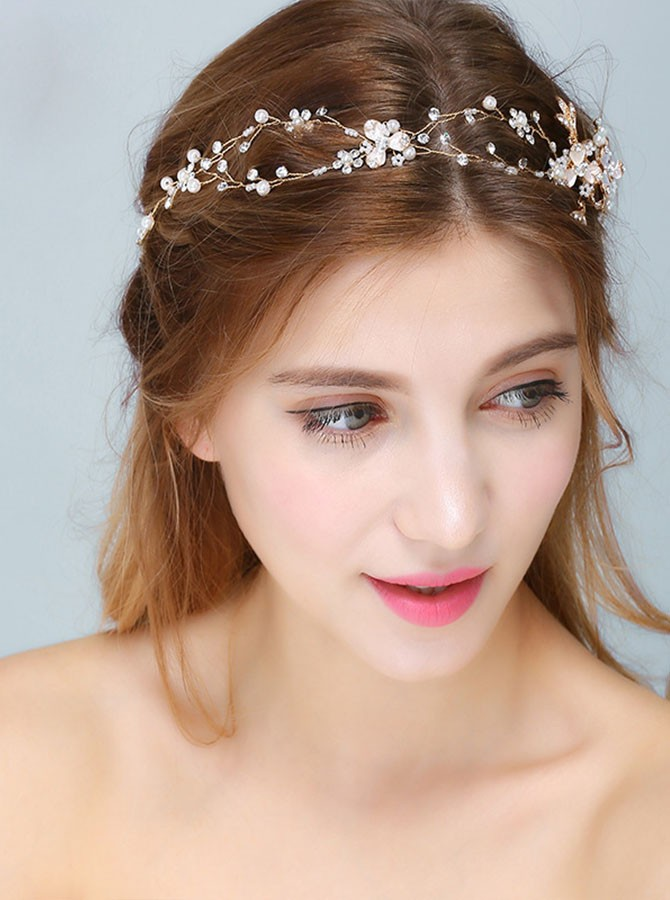 Gold Crystal Beaded Pearl Headband