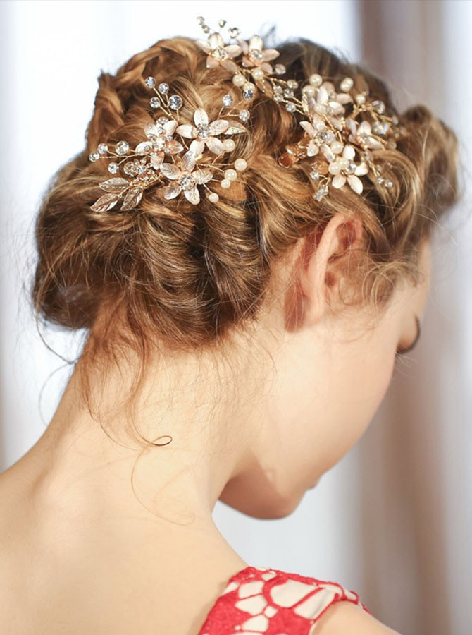 Gold Beaded Crystal Barrette