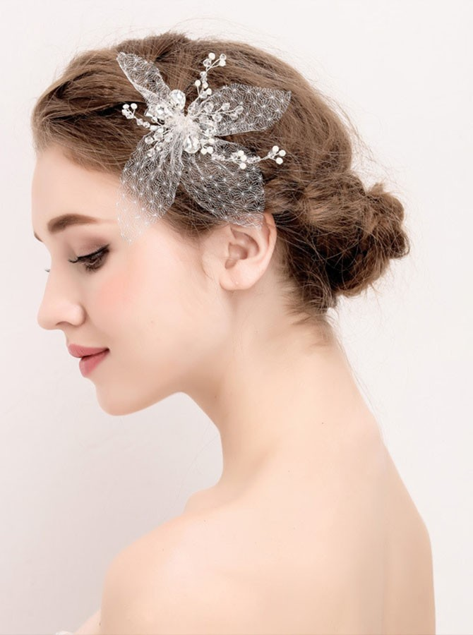 Silver Tulle Flower Pearl Beaded Hairpin
