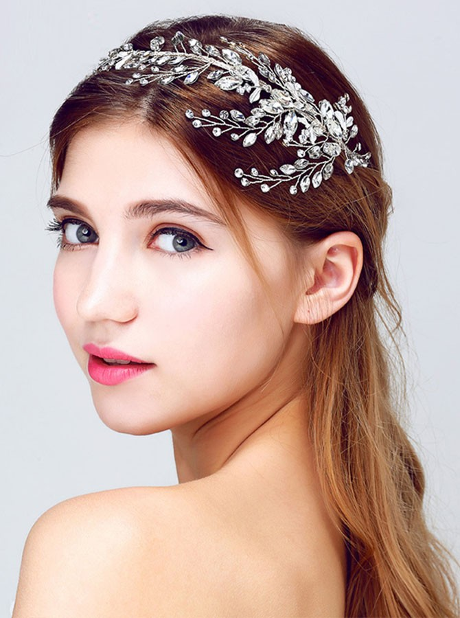 Silver Beaded Crystal Headband