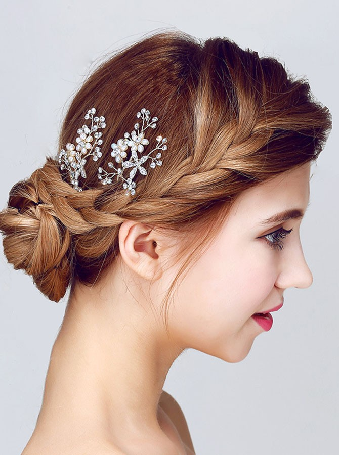 Silver Beaded Crystal Flower Hairpin