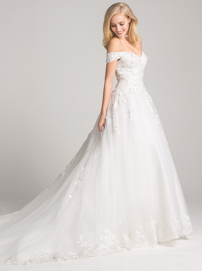 A-Line Off-the-Shoulder Court Train White Wedding Dress with Appliques