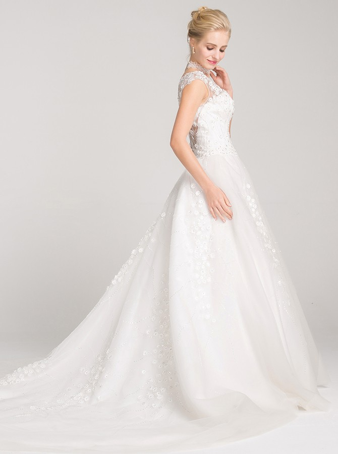 A-Line Bateau Cap Sleeves Court Train Wedding Dress with Appliques