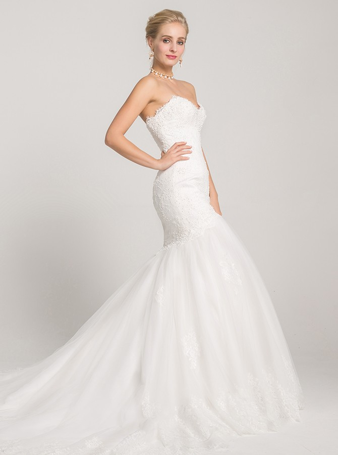 Mermaid Sweetheart Court Train White Wedding Dress with Appliques Beading
