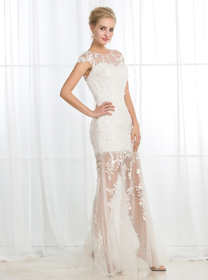 Sheath Bateau Cap Sleeves White Wedding Dress with Sequins Appliques